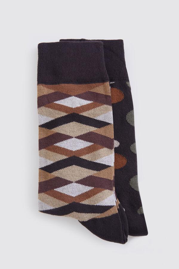 Hatem Saykı - 2'li Desenli Kahverengi Çorap