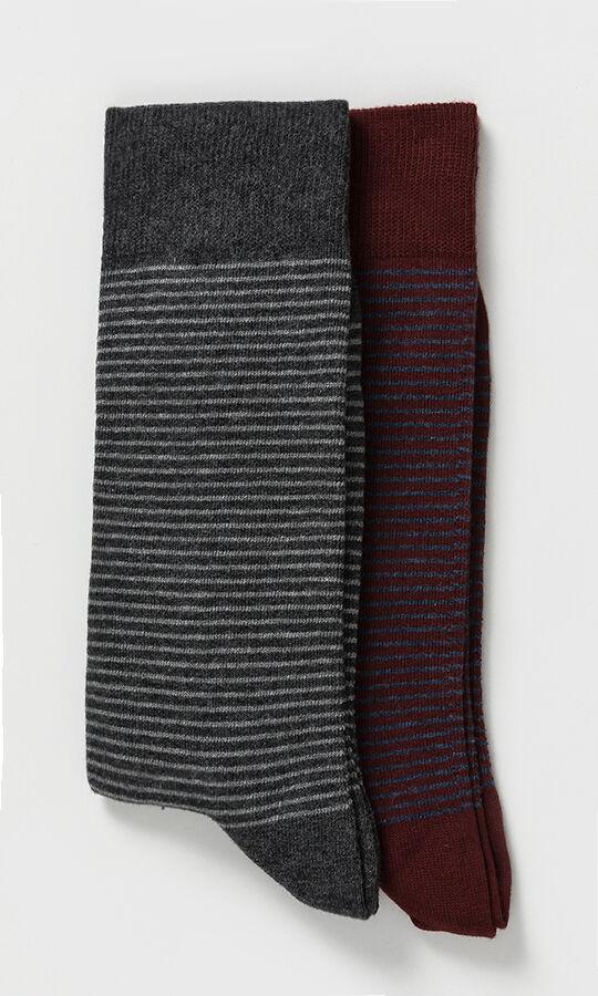 2'li Gri Bordo Çorap