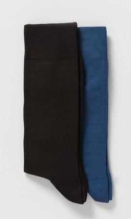 Hatem Saykı - 2'li Kahverengi Mavi Çorap