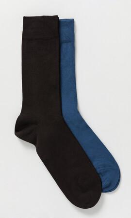 2'li Kahverengi Mavi Çorap - Thumbnail