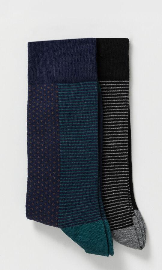 HTML - 2'li Lacivert Siyah Çorap