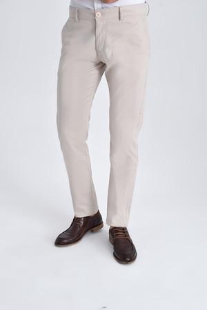 Hatem Saykı - Desenli Slim Fit Taş Pantolon