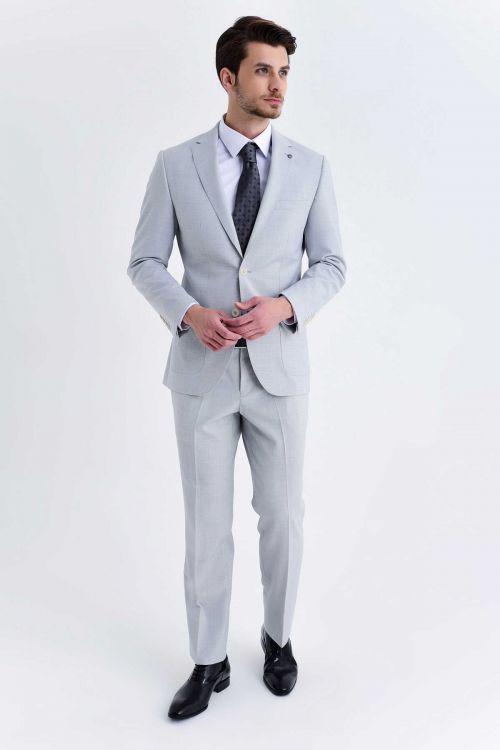HATEM SAYKI - Gri Kazayağı Kazayağı Slim Fit Takım Elbise