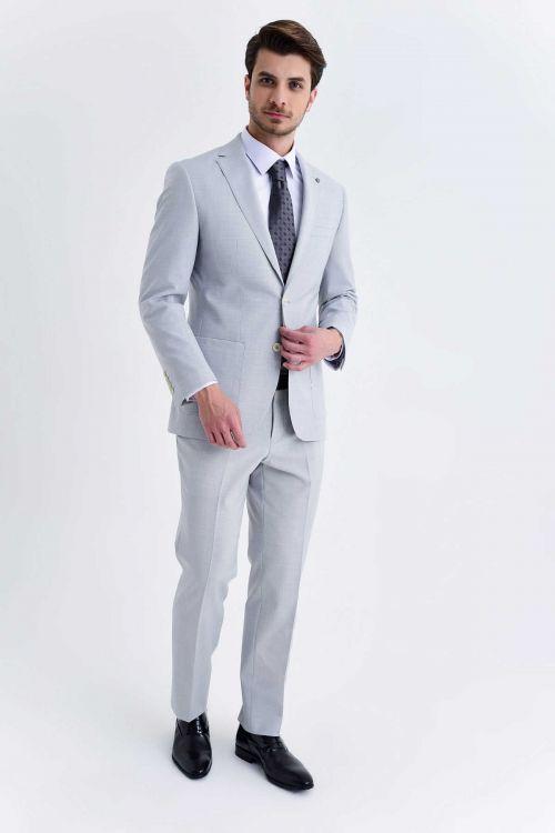 HATEM SAYKI - Gri Kazayağı Kazayağı Slim Fit Takım Elbise (1)