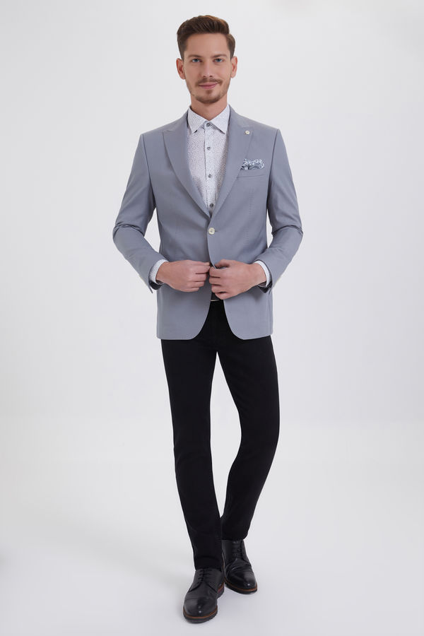 Gri Desenli Slim Fit Ceket