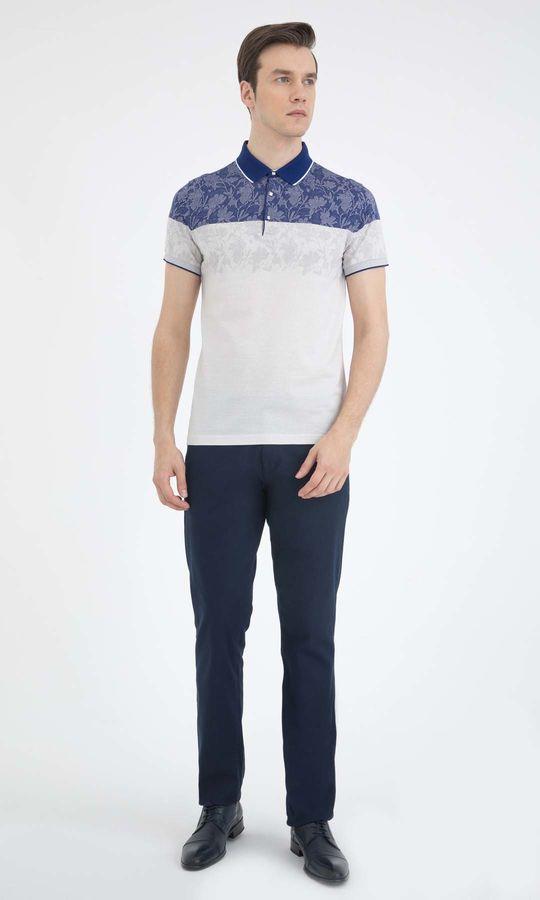 HATEM SAYKI - Lacivert - Beyaz - Desenli Regular T-shirt (1)