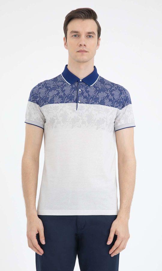 HATEM SAYKI - Lacivert - Beyaz - Desenli Regular T-shirt