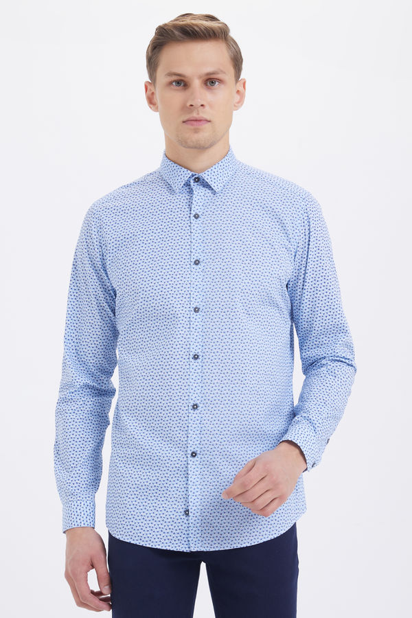 Mavi Baskılı Slim Fit Gömlek