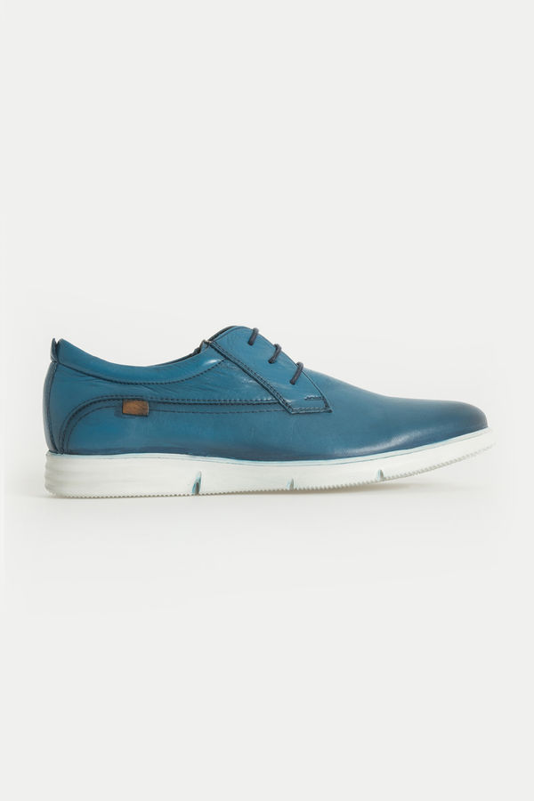 HTML - Hakiki Deri Mavi Günlük Ayakkabı