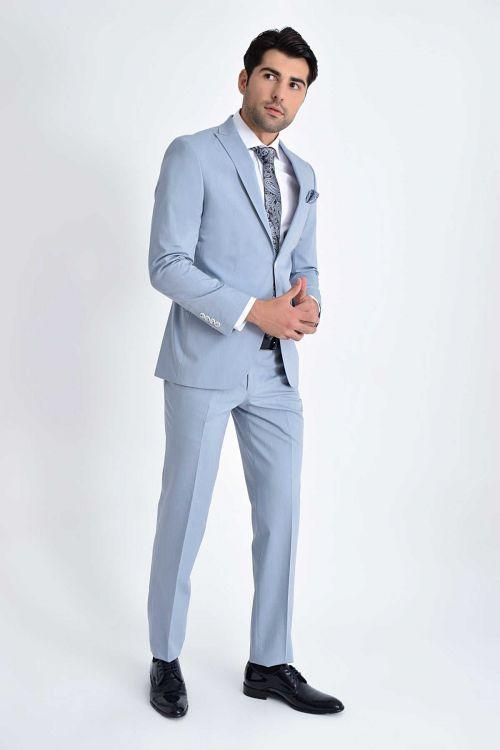 HATEMOĞLU - Mavi Çizgili Slim Fit Takım Elbise (1)