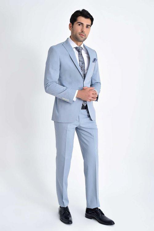 HATEMOĞLU - Mavi Çizgili Slim Fit Takım Elbise