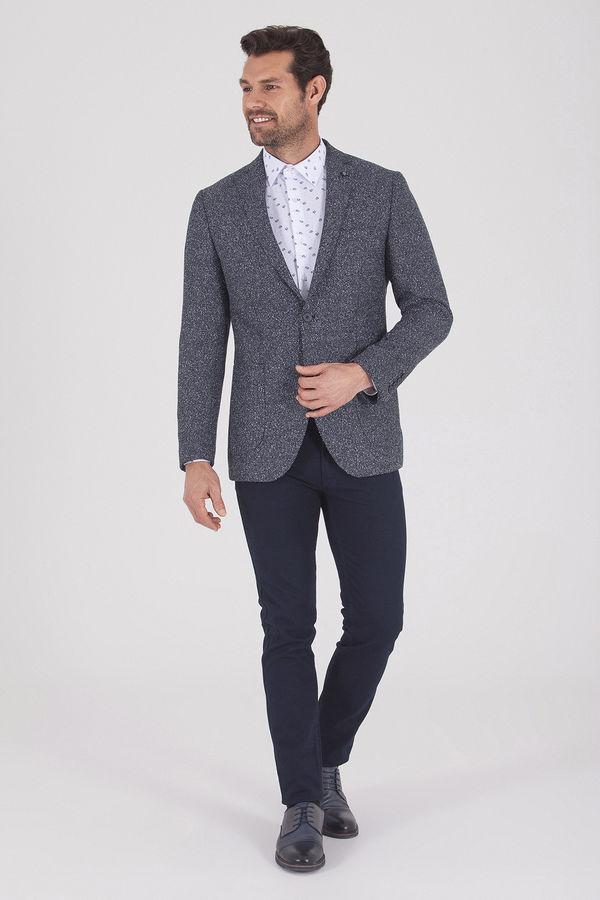 Hatemoğlu - Desenli Slim Fit Mavi Ceket (1)