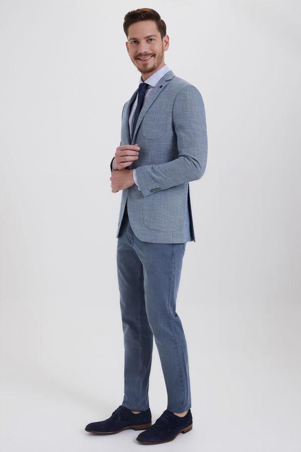 HTML - Desenli Slim Fit Mavi Ceket (1)