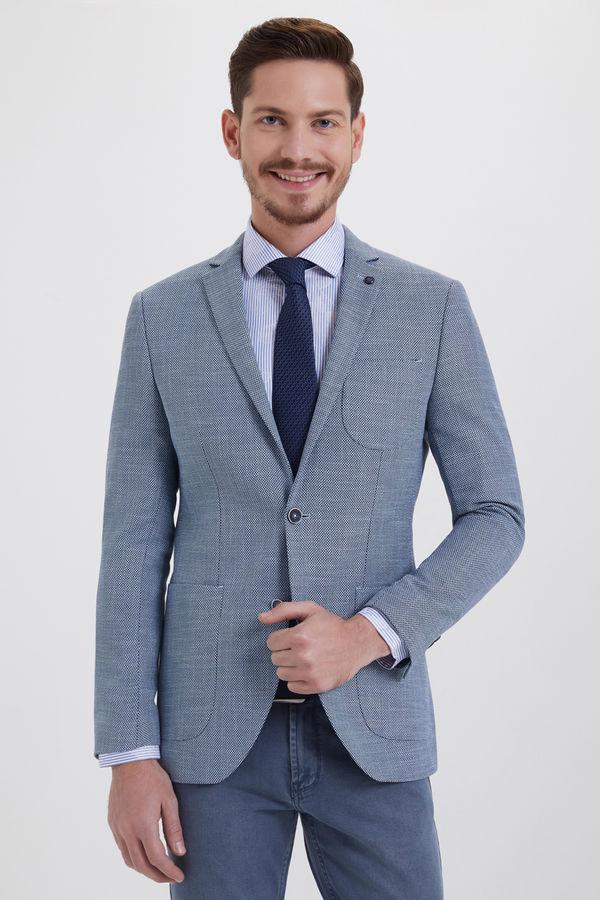 HTML - Desenli Slim Fit Mavi Ceket