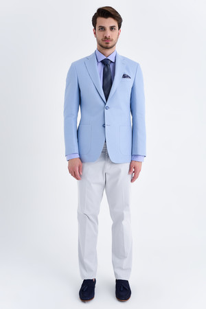 Mavi Desenli Slim Fit Ceket - Thumbnail
