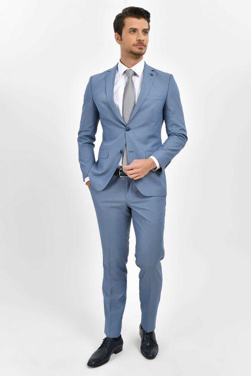 Hatemoğlu - Desenli Slim Fit Mavi Takım Elbise