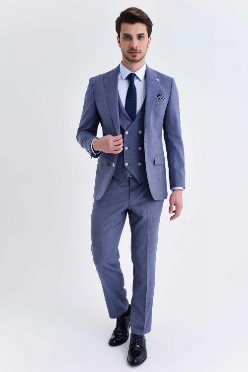 HATEM SAYKI - Mavi Desenli Slim Fit Takım Elbise (1)