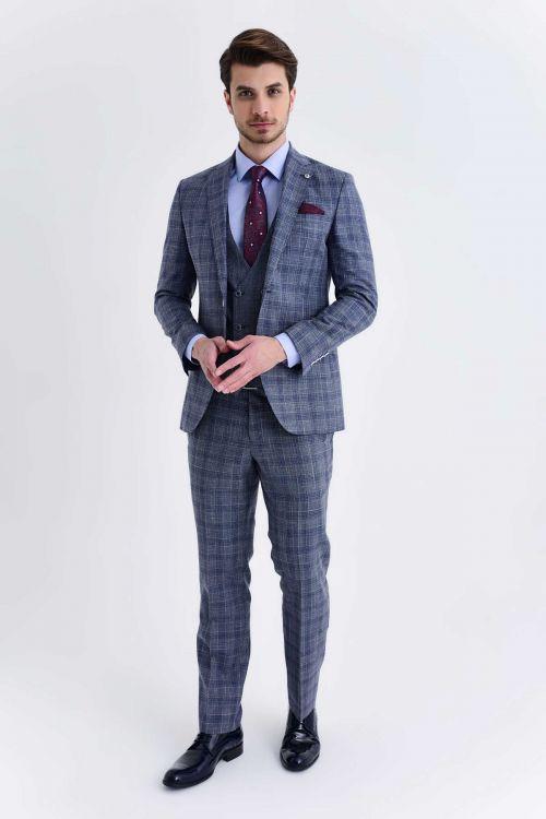 Hatem Saykı - Mavi Kareli Slim Fit Takım Elbise (1)