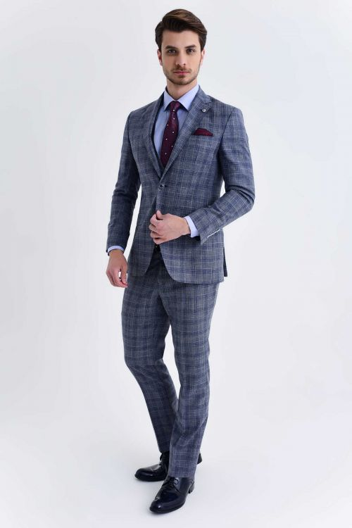 Hatem Saykı - Mavi Kareli Slim Fit Takım Elbise