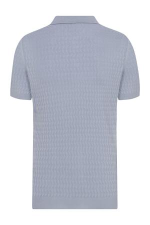 Hatem Saykı - Açık Mavi Desenli Polo Yaka Tişört (1)