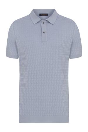 Hatem Saykı - Açık Mavi Desenli Polo Yaka Tişört