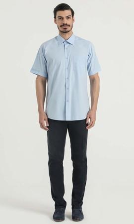 Hatemoğlu - Kısa Kol Açık Mavi Klasik Gömlek (1)