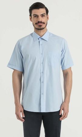 Hatemoğlu - Kısa Kol Açık Mavi Klasik Gömlek