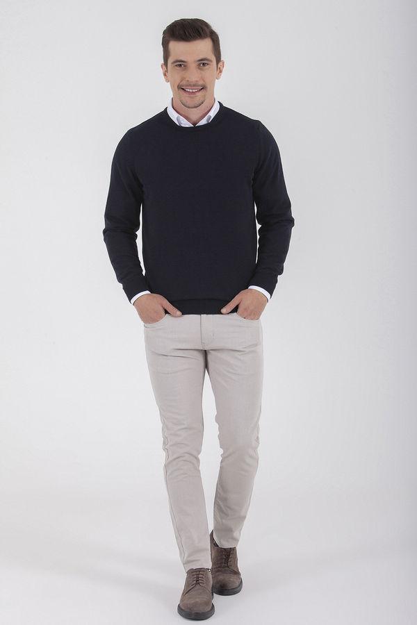 Hatem Saykı - Bej Desenli Slim Fit Pantolon (1)