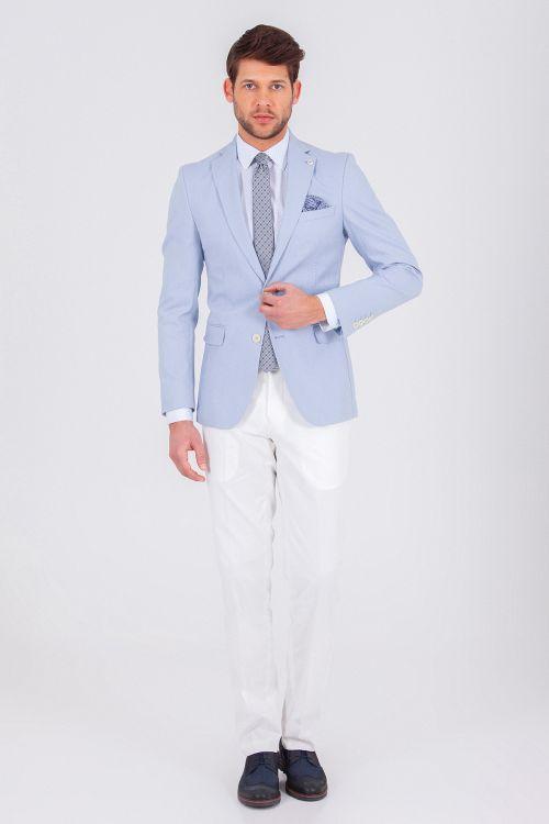 Hatem Saykı - Açık Mavi Slim Fit Takım Elbise