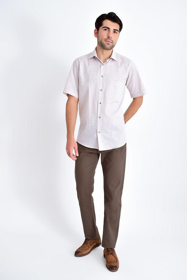 HATEMOĞLU - Kahverengi Desenli Klasik Gömlek (1)