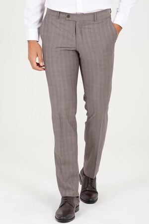 Hatem Saykı - Kahverengi Slim Fit Kareli Kumaş Pantolon