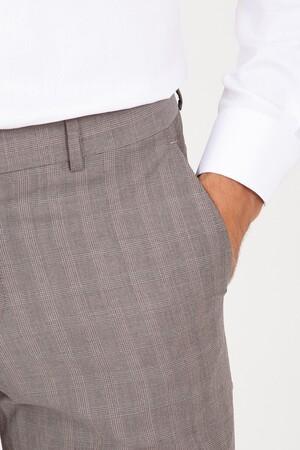 Hatem Saykı - Kahverengi Slim Fit Kareli Kumaş Pantolon (1)