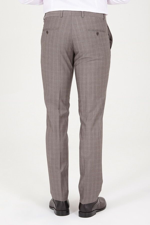 Kahverengi Slim Fit Kareli Kumaş Pantolon