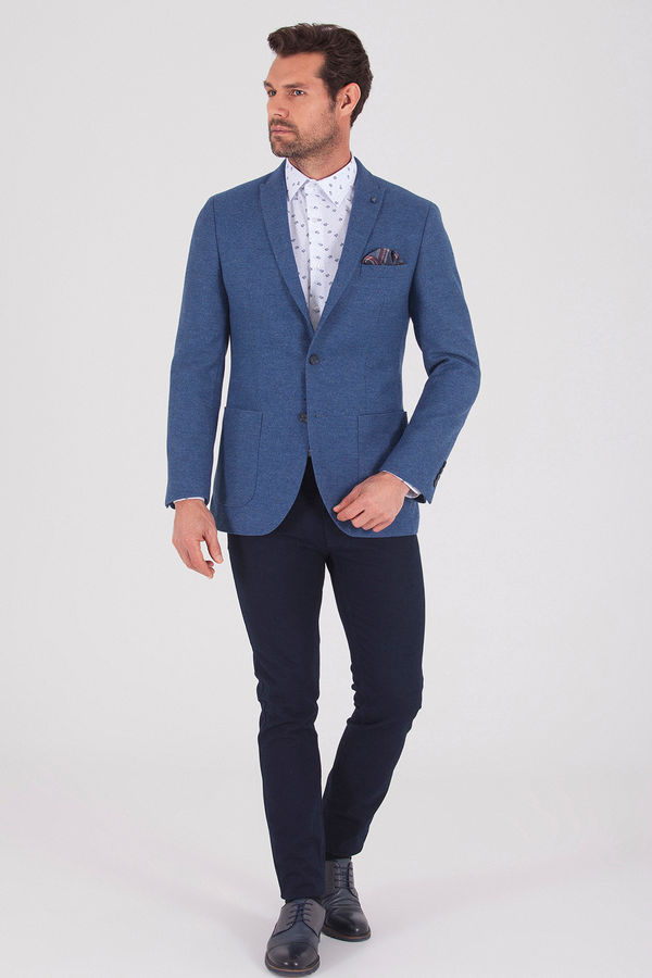 Hatem Saykı - Mavi Slim Fit Desenli Ceket (1)