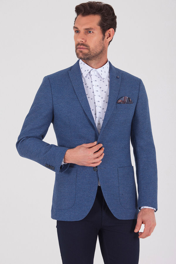Hatem Saykı - Mavi Slim Fit Desenli Ceket