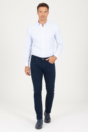 HTML - Lacivert Slim Fit Kanvas Pantolon (1)