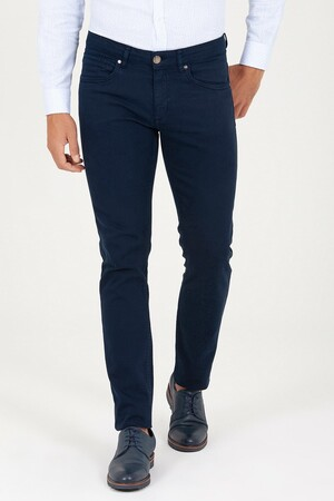 HTML - Lacivert Slim Fit Kanvas Pantolon