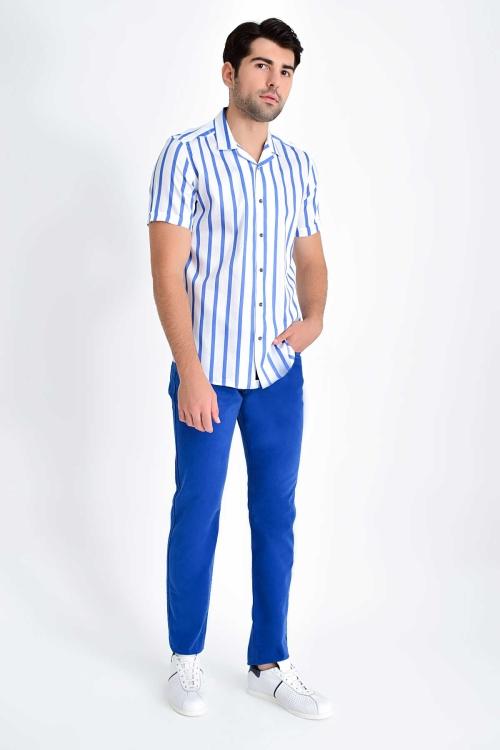 HATEM SAYKI - Lacivert Çizgili Slim Fit Gömlek (1)