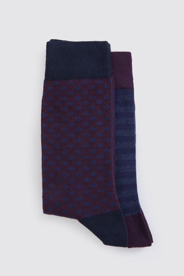Hatem Saykı - Lacivert - Bordo Çorap