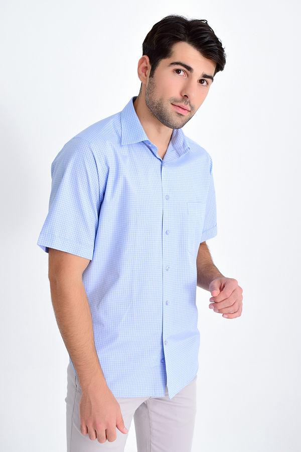 HATEMOĞLU - Mavi Kareli Klasik Gömlek