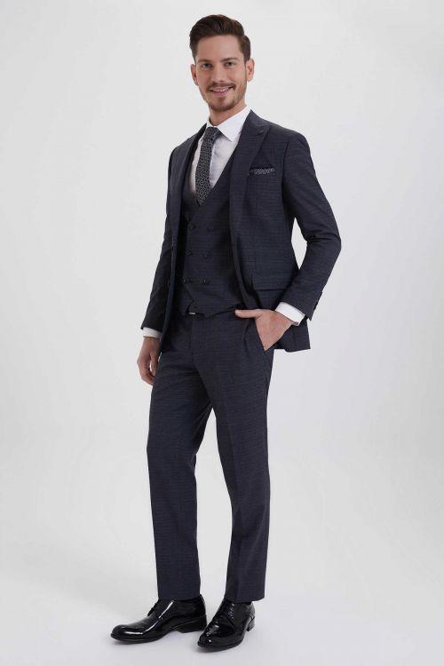 HATEM SAYKI - Antrasit Desenli Slim Fit Takım Elbise