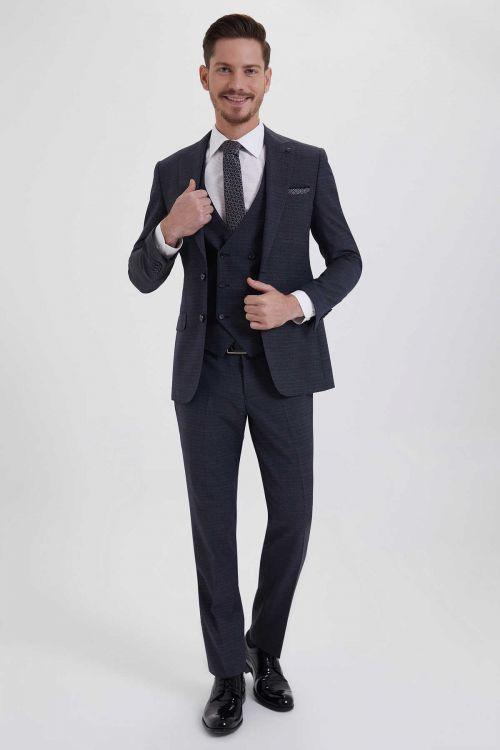 HATEM SAYKI - Antrasit Desenli Slim Fit Takım Elbise (1)