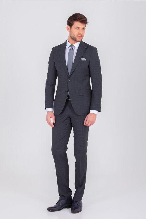 Antrasit Desenli Slim Fit Takım Elbise