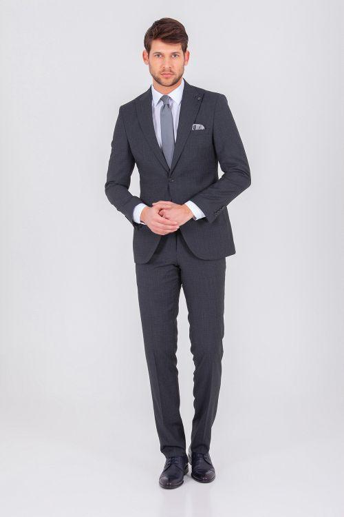 Hatem Saykı - Desenli Slim Fit Antrasit Takım Elbise