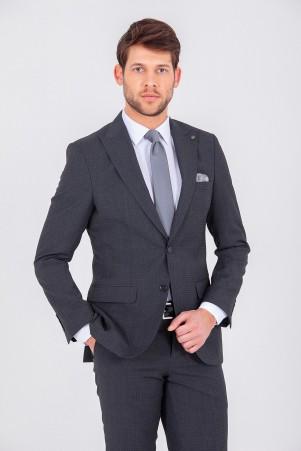 Hatem Saykı - Antrasit Desenli Slim Fit Takım Elbise (1)