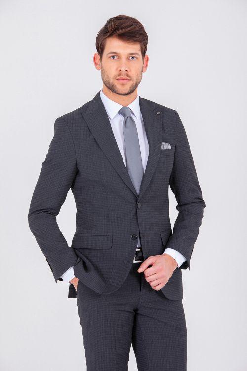 Hatem Saykı - Desenli Slim Fit Antrasit Takım Elbise (1)