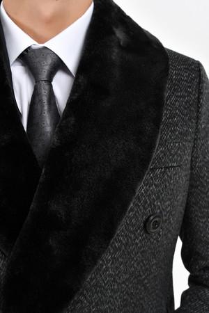 Antrasit Kürklü Palto - Thumbnail