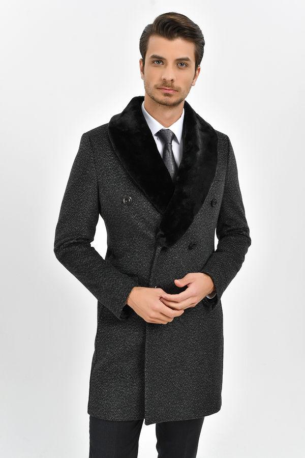 Antrasit Kürklü Palto