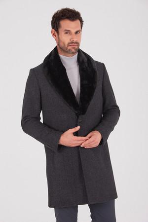 Antrasit Yakası Kürklü Yünlü Palto - Thumbnail