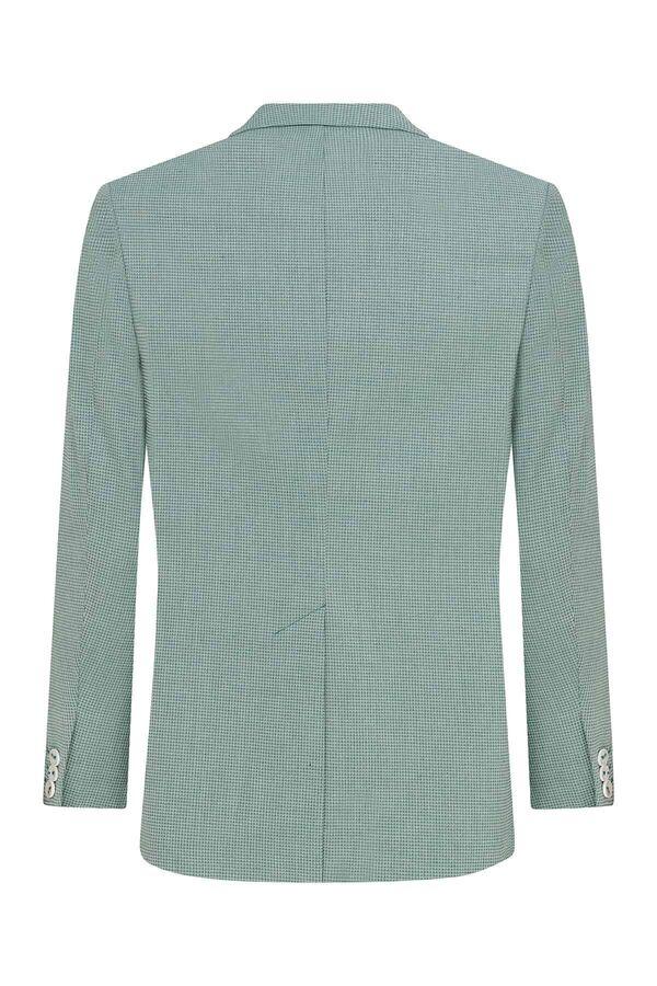 Açık Yeşil Desenli Slim Fit Ceket